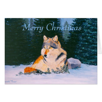 Timber Wolf Christmas Blank Card