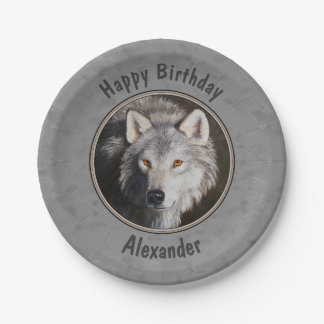 Timber Wolf Face Grey Paper Plate