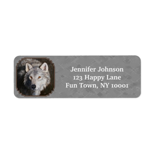 Timber Wolf Face Grey Return Address Label