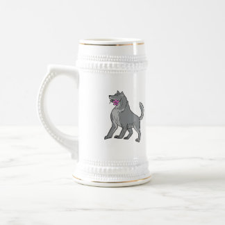 Timber Wolf Holding Plumeria Flower Drawing Beer Stein