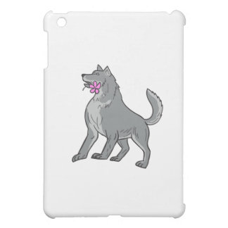 Timber Wolf Holding Plumeria Flower Drawing Case For The iPad Mini
