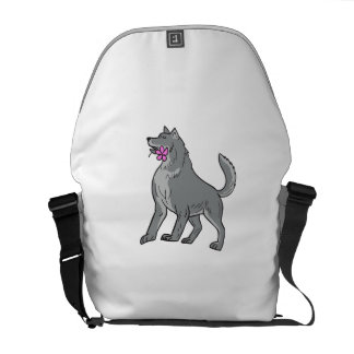 Timber Wolf Holding Plumeria Flower Drawing Courier Bags