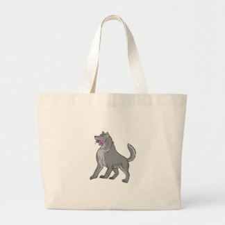 Timber Wolf Holding Plumeria Flower Drawing Large Tote Bag