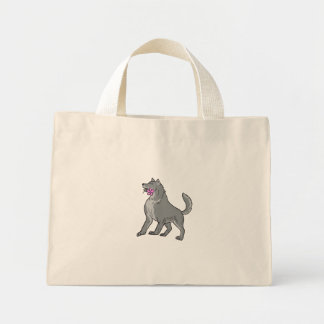 Timber Wolf Holding Plumeria Flower Drawing Mini Tote Bag