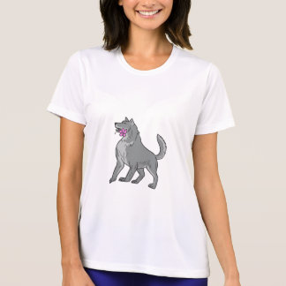 Timber Wolf Holding Plumeria Flower Drawing T-Shirt