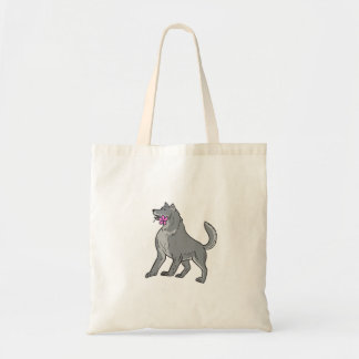 Timber Wolf Holding Plumeria Flower Drawing Tote Bag