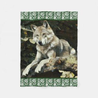 Timber Wolf Painting Fleece Blanket