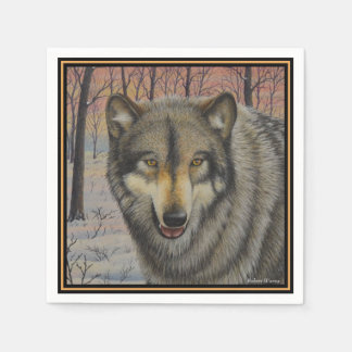 Timber Wolf Paper Napkin