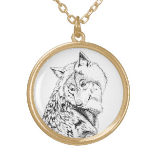 Timber Wolf Pendant Necklace, Black and White