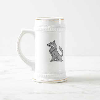 Timber Wolf Sitting Plumeria Flower Drawing Beer Stein