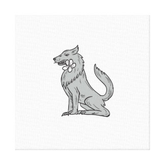 Timber Wolf Sitting Plumeria Flower Drawing Canvas Print