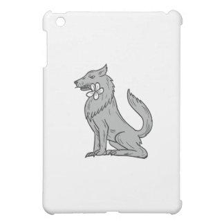 Timber Wolf Sitting Plumeria Flower Drawing iPad Mini Covers