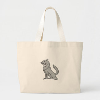 Timber Wolf Sitting Plumeria Flower Drawing Large Tote Bag