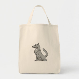 Timber Wolf Sitting Plumeria Flower Drawing Tote Bag