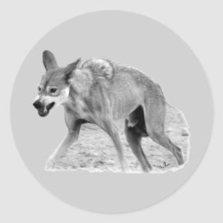Timber Wolf Snarl Classic Round Sticker