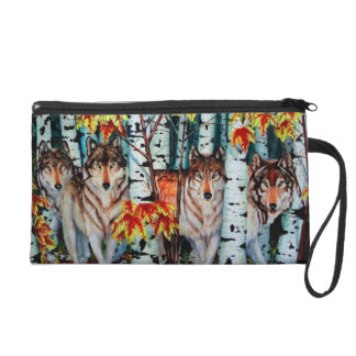 Timber Wolves in autum Wristlet Purse