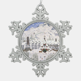 Timberline Lodge Snowflake Pewter Christmas Ornament