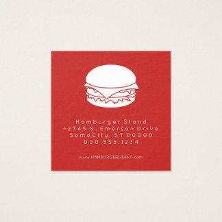 timbre de fidélité d'hamburger carte de visite carré