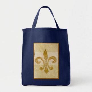 timbre de fleur de lis sac en toile épicerie