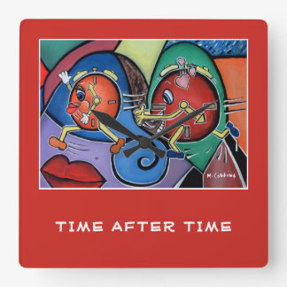 Time After Time On Red Square Wall Clock