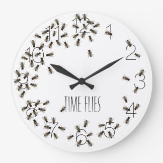 Time Flies Funny Fly Bug Clock