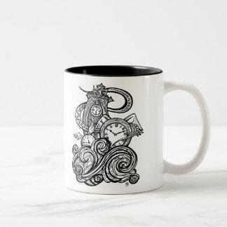 Time Flies Intricate Clock Tower illustration Two-Tone Coffee Mug