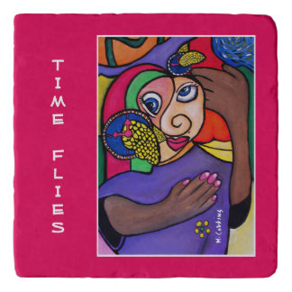 Time Flies On Red Time Pieces Trivet