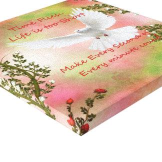 Time Flies Pigeon Message Canvas