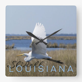 """time flies"" SLIDELL, LOUISIANA egret WALL CLOCK"