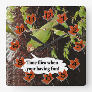 Time Flies Square Wall Clock