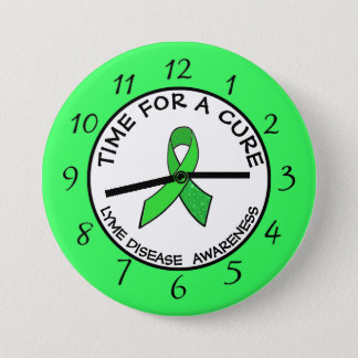 Time for a Cure Lime  Awareness Ribbon Stickers 3 Inch Round Button