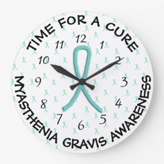 Time for a Cure Lime Green Awareness Ribbon Clock