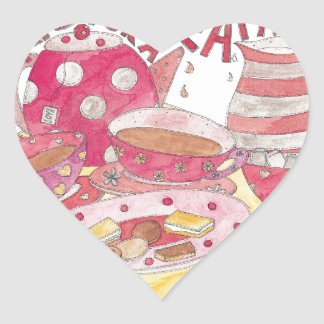 Time For A Tea Party Heart Sticker