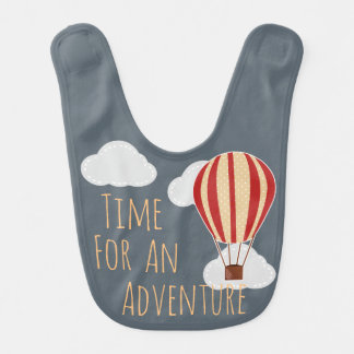 Time For An Adventure Hot Air Balloon Clouds Baby Bibs
