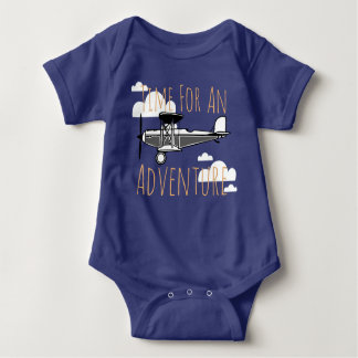 Time For An Adventure Vintage Airplane Baby Bodysuit