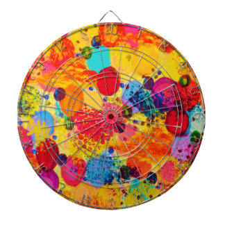 TIME FOR BUBBLY 2 - Fun Fiery Orange Red Whimsical Dartboard