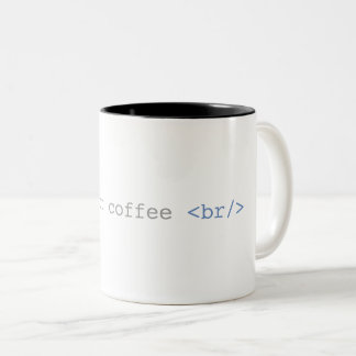 Time For Coffee Break Funny HTML Two-Tone Coffee Mug