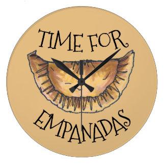 Time for Empanadas Spanish Latin Pastry Food Large Clock