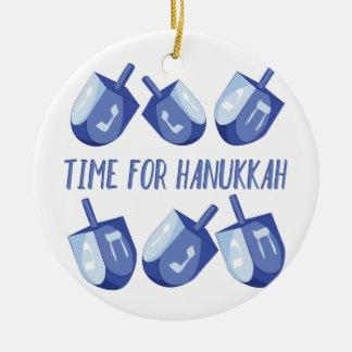 Time For Hanukkah Round Ceramic Ornament