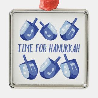 Time For Hanukkah Silver-Colored Square Ornament