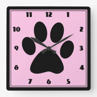 Time for Pets Pink Pawprint Clock