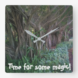 Time for some magic Enchanted Forest Print Square Wall Clock