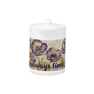 Time for Tea Floral Watercolor Small Tea Pot