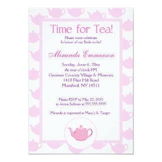 "Time for Tea Teapot (Pink) Bridal Shower 5x7 5"" X 7"" Invitation Card"