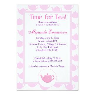 "Time for Tea Teapot (Pink) Bridal Shower 5x7 5"" X 7"" Invitation Card"