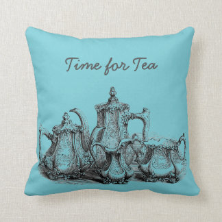 Time For Tea Vintage Teapot Throw Pillow
