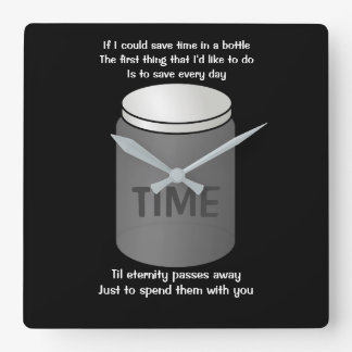 TIME In a Bottle Square wall clock