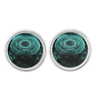 Time in Blue on Black Cufflinks