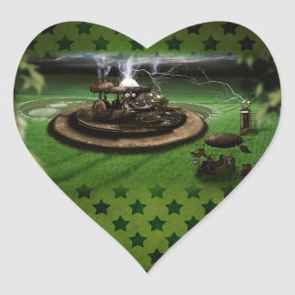 Time Machine Crop Circles Heart Sticker