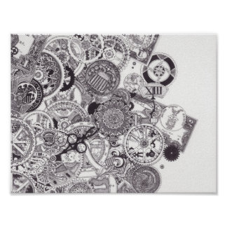 Time & Money - Black & White Steampunk Poster
